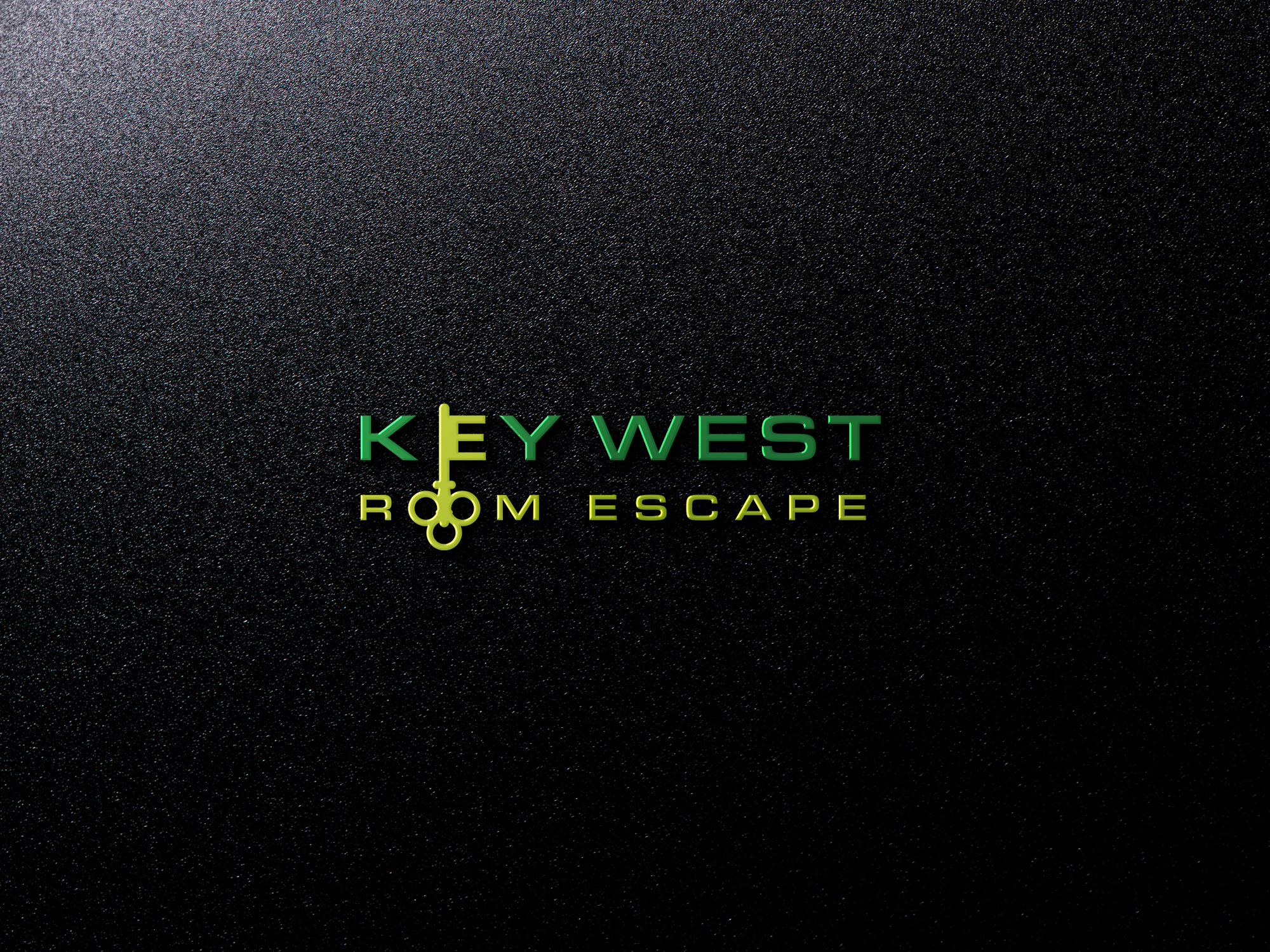 This is a mockup of Key West Room Escape's logo in green and yellow