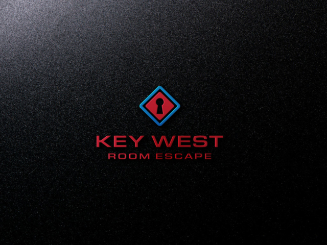 This is a red and blue logo on black background for Key West Room Escape